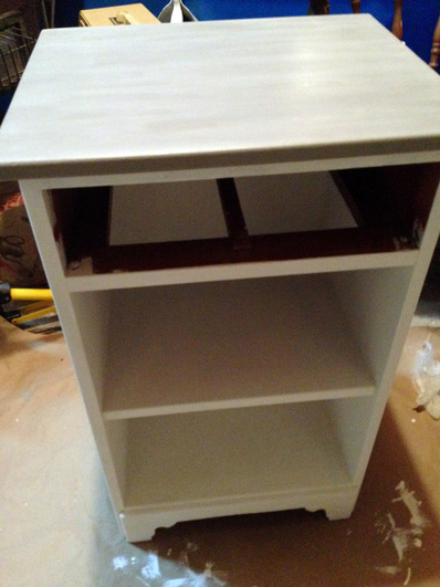 Second coat of Annie Sloan chalk paint in Pure White and French Linen