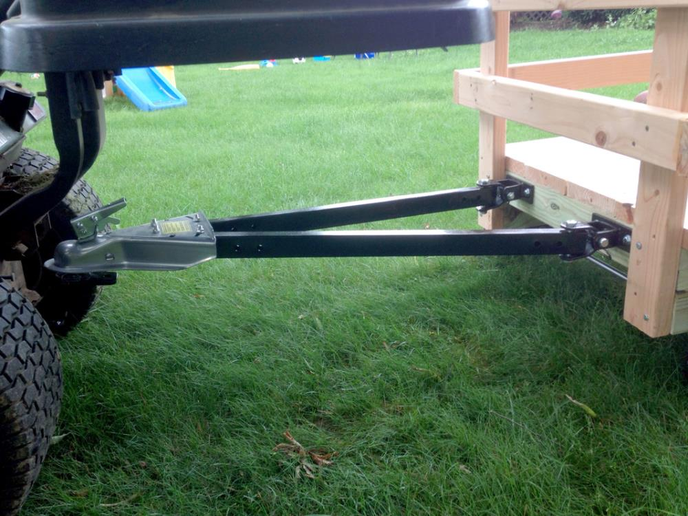 Hitch and tow bar linking the wagon to the mower