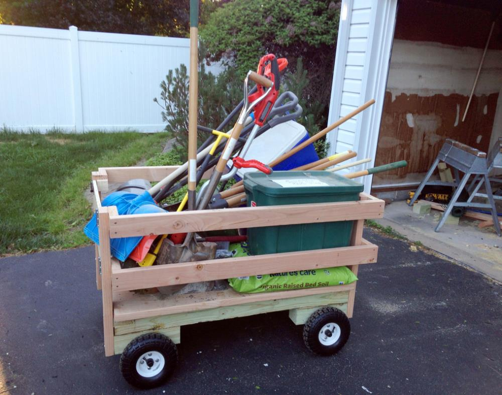 Using the wagon for yardwork