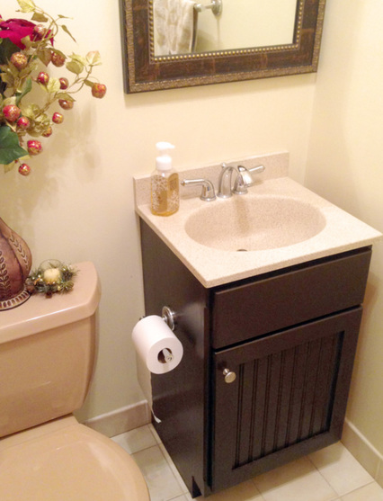 Bathroom makeover with gel stain and new decor