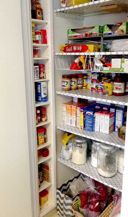 Pantry organization from an old CD tower