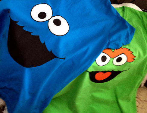 cookie monster and oscar tshirt