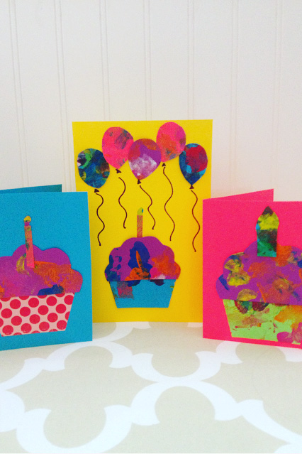 Making cards out of toddler art