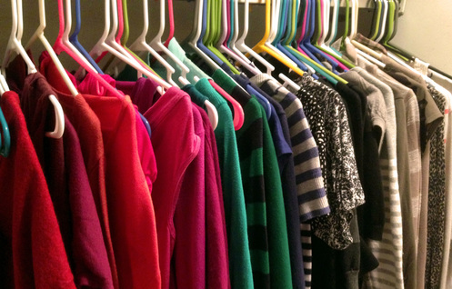 Organizing closet by color