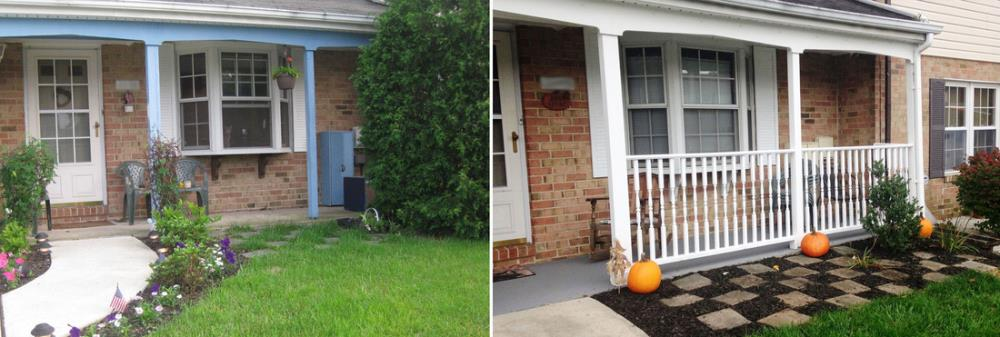before and after front porch update