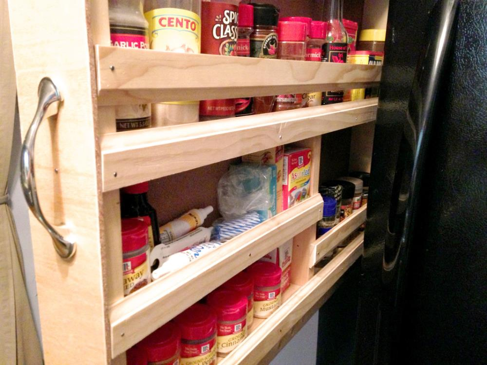 Sliding spice rack in the kitchen