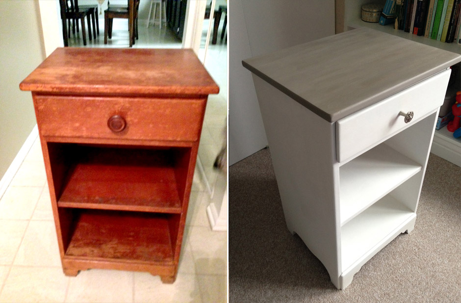 Before and after Annie Sloan Chalk Paint in Pure White and French Linen