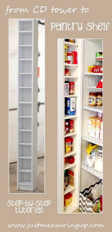 An old CD tower that was turned into a pantry spice rack