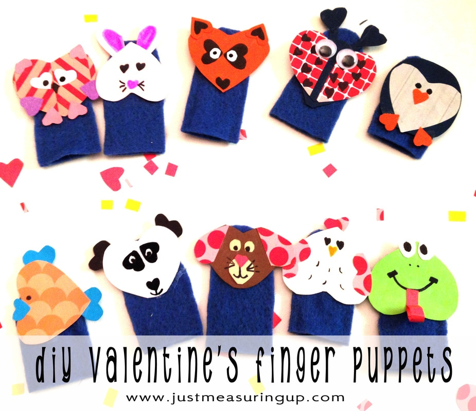 Making Valentines Finger Puppets with two materials