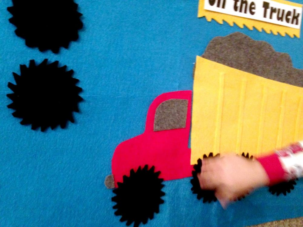 Pin the Wheels on the Truck Felt Board for toddlers