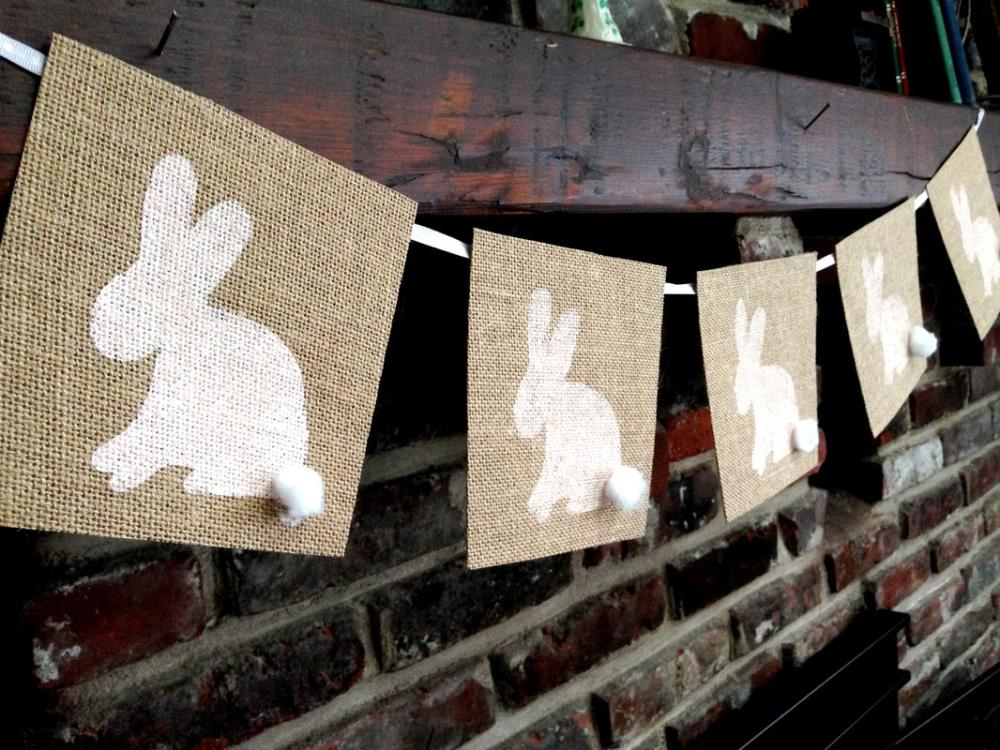 Burlap Easter Bunny Banner - free printable