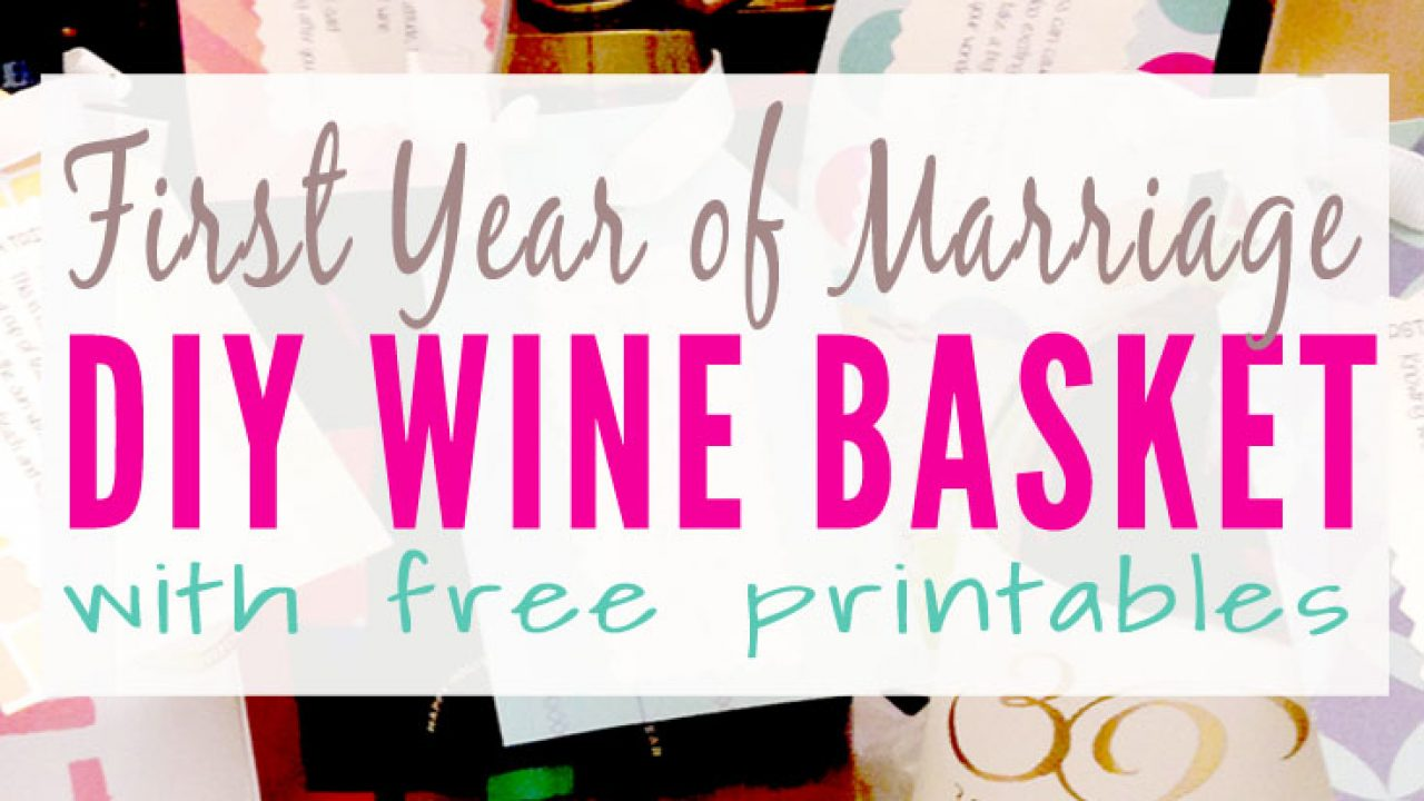 photo regarding Free Printable Wine Tags for Bridal Shower titled Milestone Wine Basket with Free of charge Lables Many years of Firsts Reward