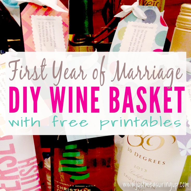 picture relating to Free Printable Wine Tags for Bridal Shower named Milestone Wine Basket with Absolutely free Lables Many years of Firsts Reward