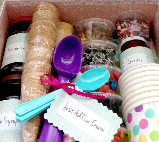 Making a Simple Ice Cream Sundae Gift Basket