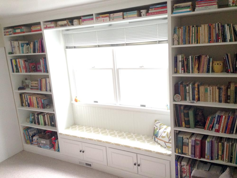 How To Build A Floor Ceiling Bookshelf With Window Seat