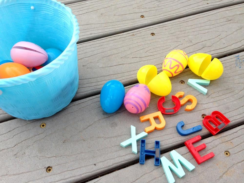 Fill Easter eggs with alphabet letters (or make your own)