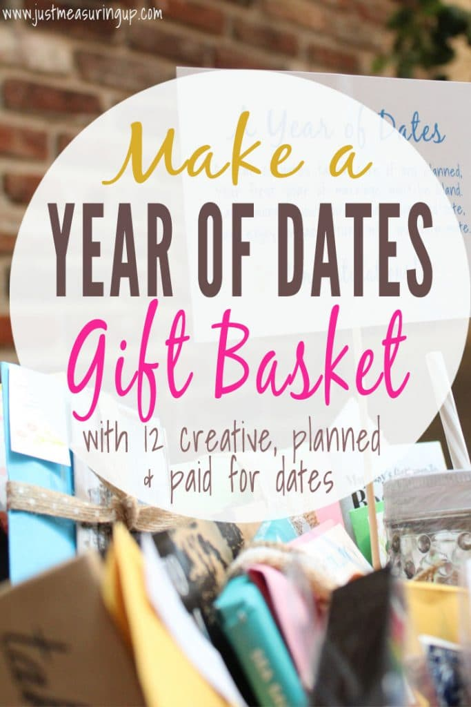 DIY Wedding Gift Idea for Bride and Grooms - Make a Year of Dates gift basket with planned and paid for dates!!
