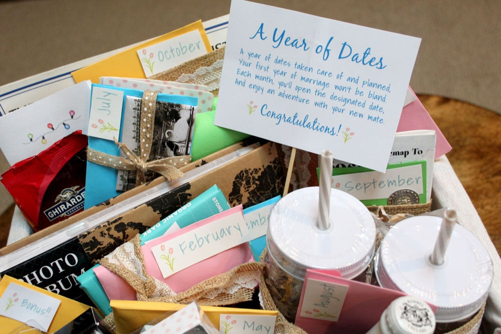 Putting together a Year of Dates gift basket for bridal showers
