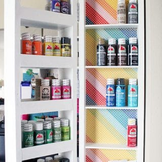 Easy Swing Out Wall Shelves from Scrap Wood