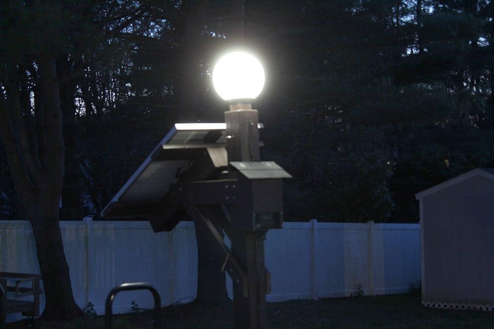 Solar Panel Light with solar panel at night