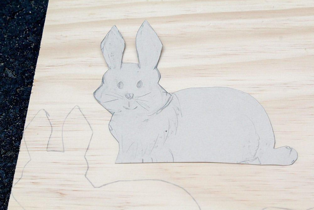Sketching a bunny to make DIY bunny bookends