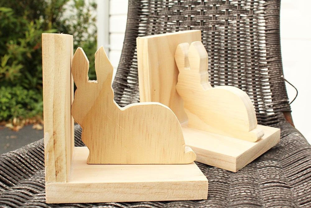 Making DIY bunny bookends for creative kids rooms