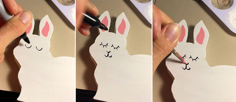 Drawing the face on DIY bunny bookends