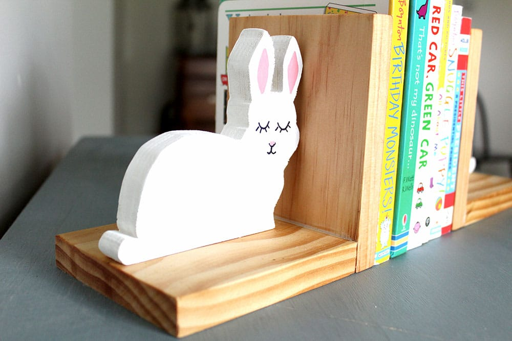 Closeup of a DIY bunny bookend with an easy tutorial