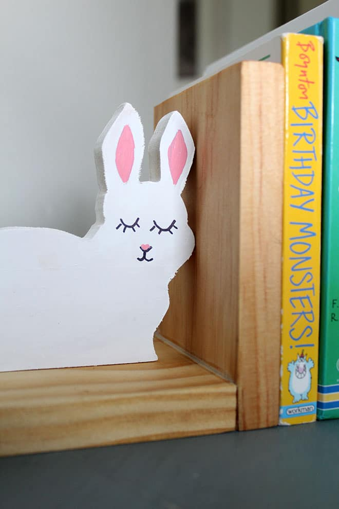 DIY bunny bookend with tung oil wood and painted bunny