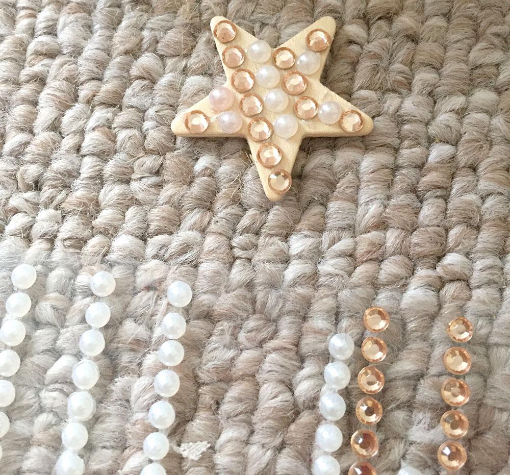 Using rhinestones to decorate homemade DIY christmas tree decor