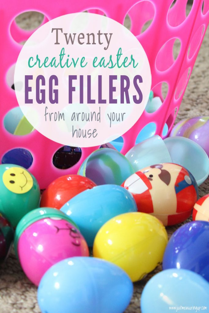 Colorful easter eggs and basket with creative filler and easter egg hunt ideas