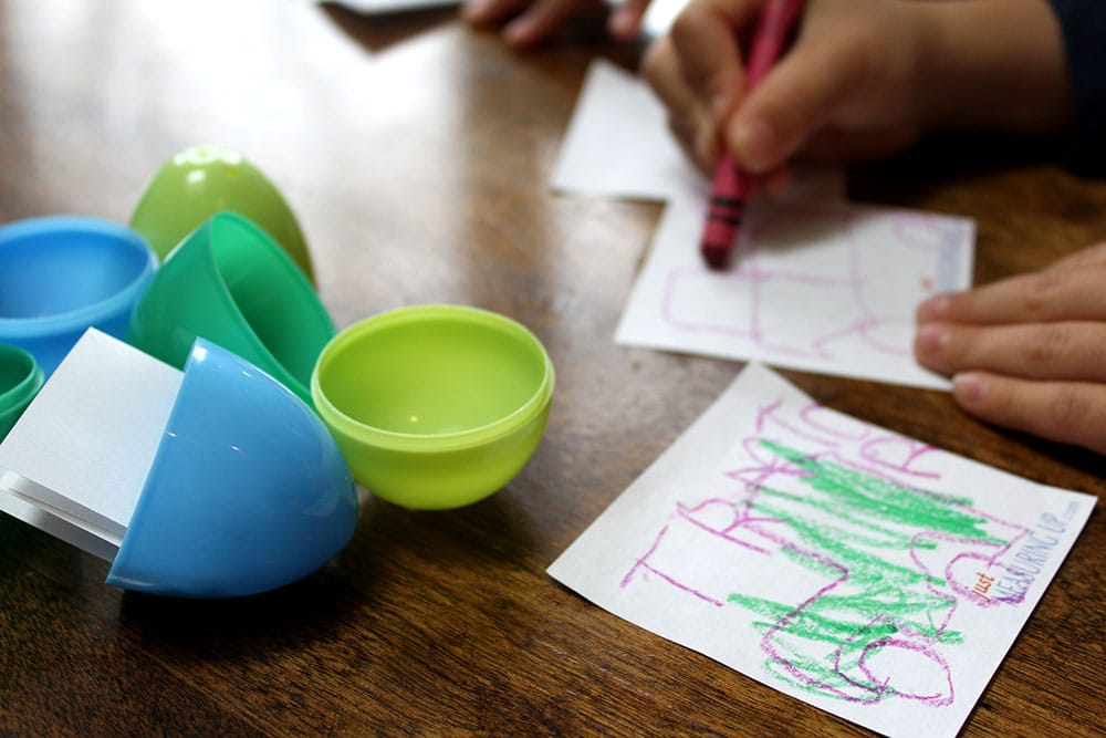 Drawing on post-it notes to fill easter eggs with for a fun Easter idea