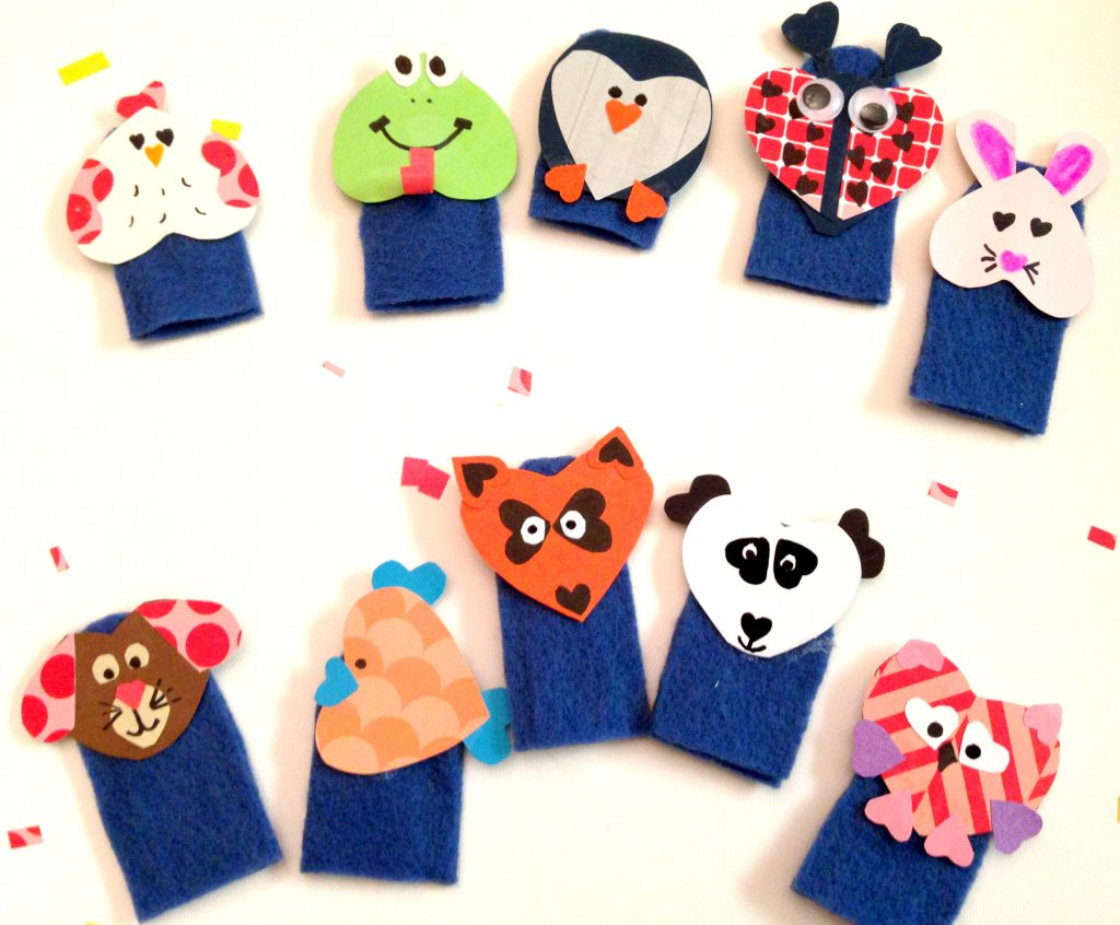Finger puppets made from felt and paper that you can put in Easter eggs