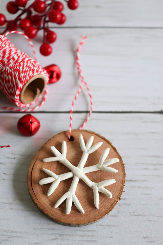 Easy Christmas Craft Snowflake Clay Ornament
